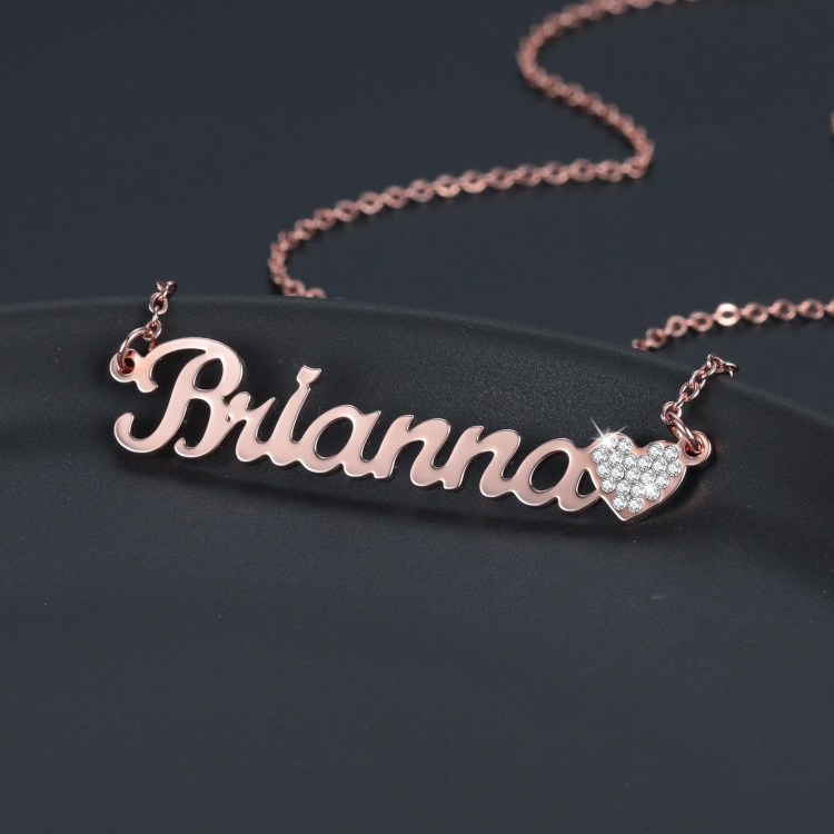 Custom Crystal Heart Rose Gold Brianna Name Necklace