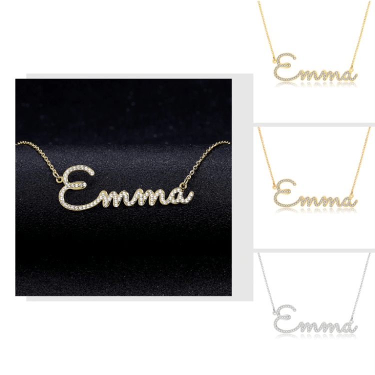 Gold Silver Rose Gold Personalized Any Name Necklace