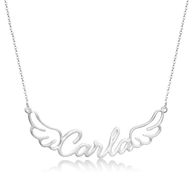 Silver Color My Angel Wings Crafted Name Necklace