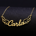 Stainless Steel Custom Made Any Name Necklace With Angel Wings