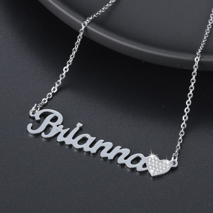 Sterling Silver Sparkling Crystal Heart Name Necklace