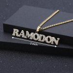 iced out crystal inlaid personalized hip hop name necklace