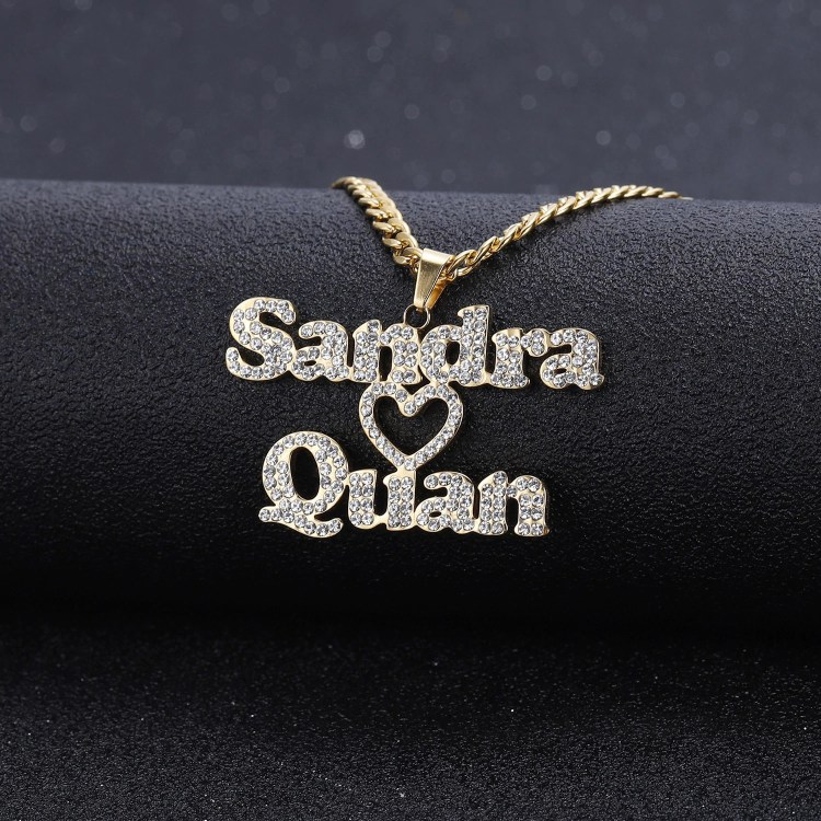sparkling couple heart necklace