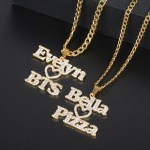 your favorite brand band food hobby love heart crystal inlaid personalized necklace iced out nameplate