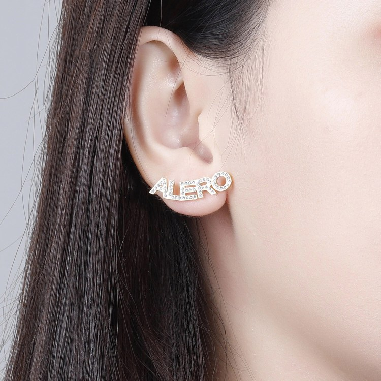 Stud Earrings Iced Out Crystal Name Earrings sparkling diamond