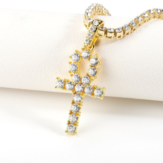crystal cross necklace with tennis chain