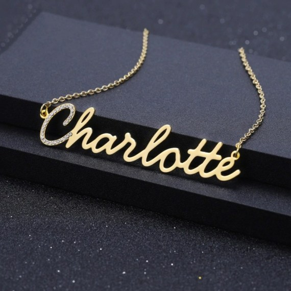 Crystal First Initial Simple Looking Custom Name Necklace For Casual Regular Day Wears