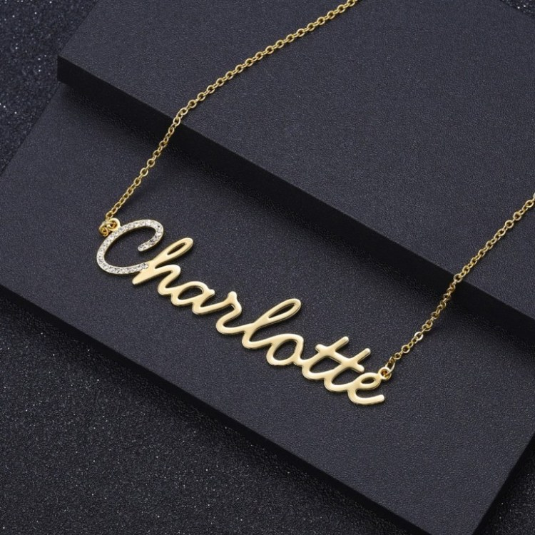 Good Looking Bespoke Any Name Necklace For Women Regular Outfits In Gold Silver Rose Gold Steel Material