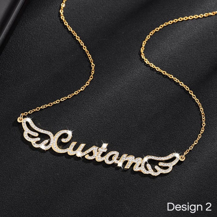custom name necklace with angel wings feathers design for girls