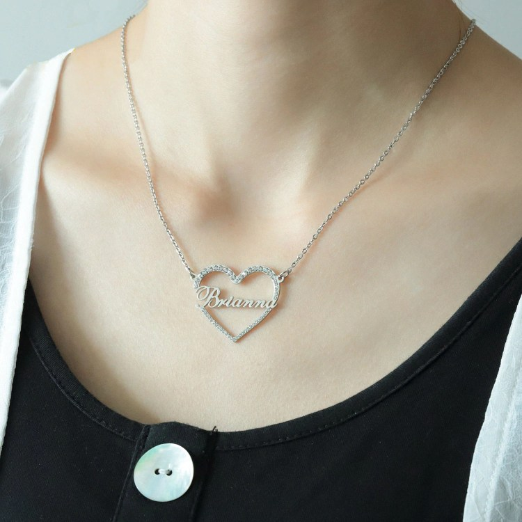 personalized heart crystal custom name women pendant necklace chain
