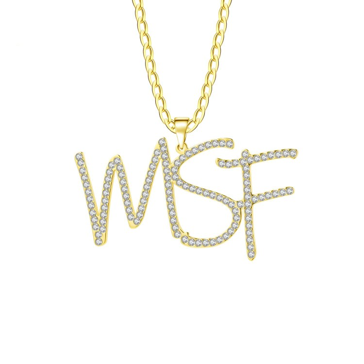 hip hop word letter number personalized jewelry custom crystal initials diamond iced out name necklace chain cuban