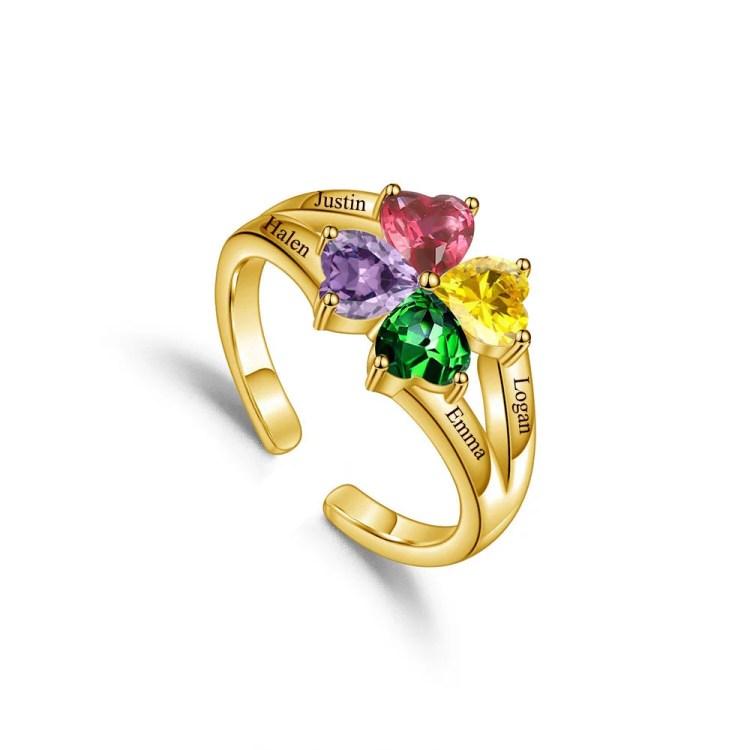 Gold beautiful custom name ring for mom grandma engraved four 4 love heart shaped birthstones ring