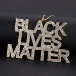 Black lives matter black american campaign sparkling iced out crystal necklace