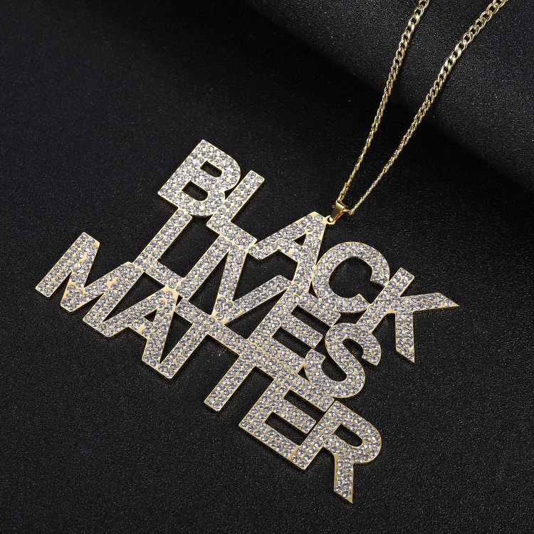 Black lives matter movement customer name chain with crystals iced out black american people