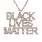 United states black american iced out black lives matter necklace