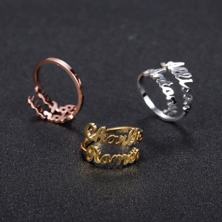custom double couple name ring for men women personalized love gifts