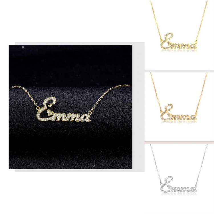 crystal name necklace in gold silver rose gold cute hearts
