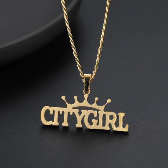 crown icon symbol design name necklace