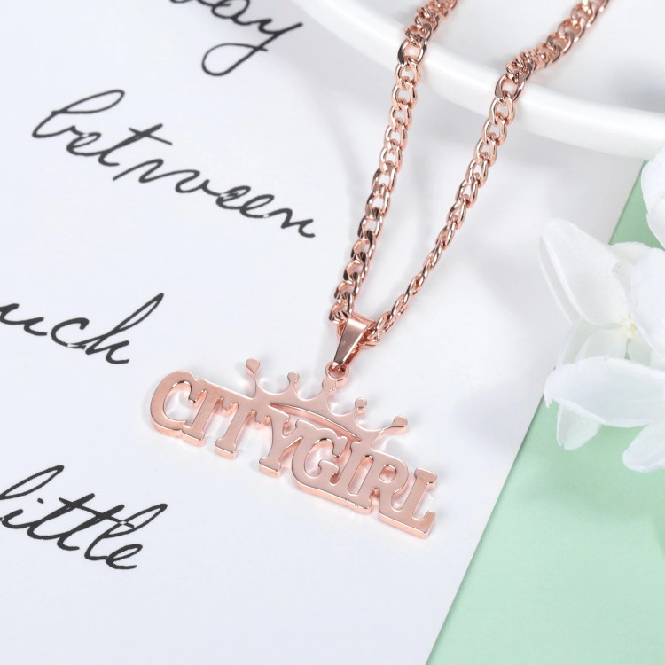 personalized gift name necklace with crown women