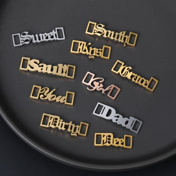 customizable shoe lace buckle available in 6 different font styles old english cursive handwriting accessories