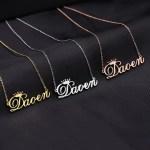 customized cursive font crown name necklace