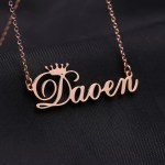 floral font crown name custom personalized necklace