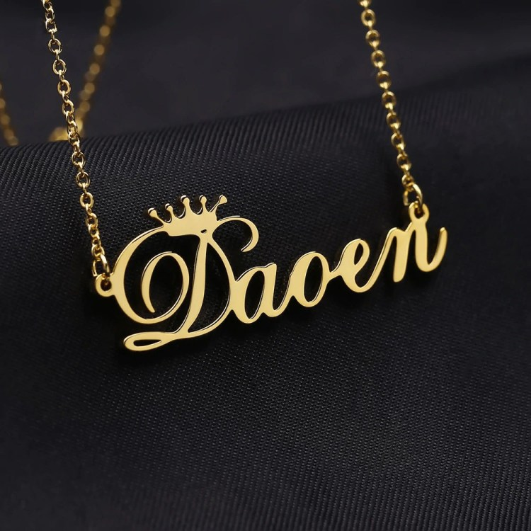gold crown name necklace best gift to her