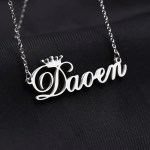 silver color crown name necklace for women
