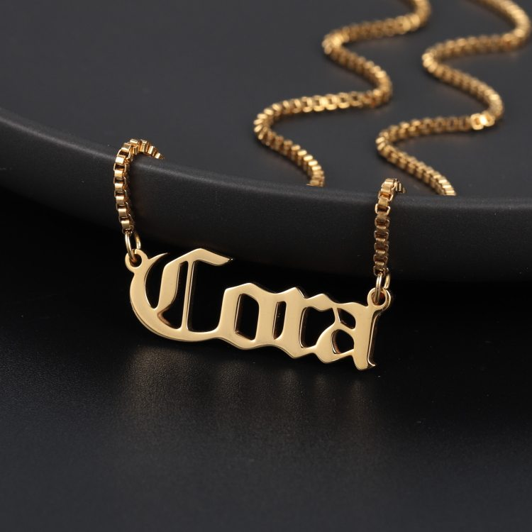 Box chain old english letters pendant necklaces