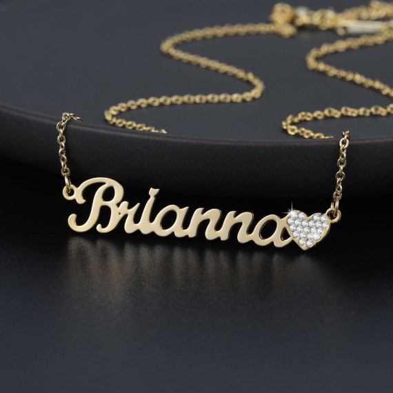 Customized gold iced out heart name necklace pendant blingBling heart charm nameplate women