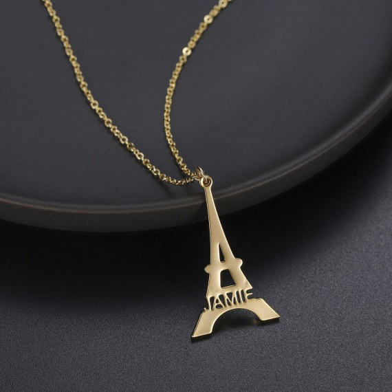 Eiffel tower shape gold link necklaces with custom name