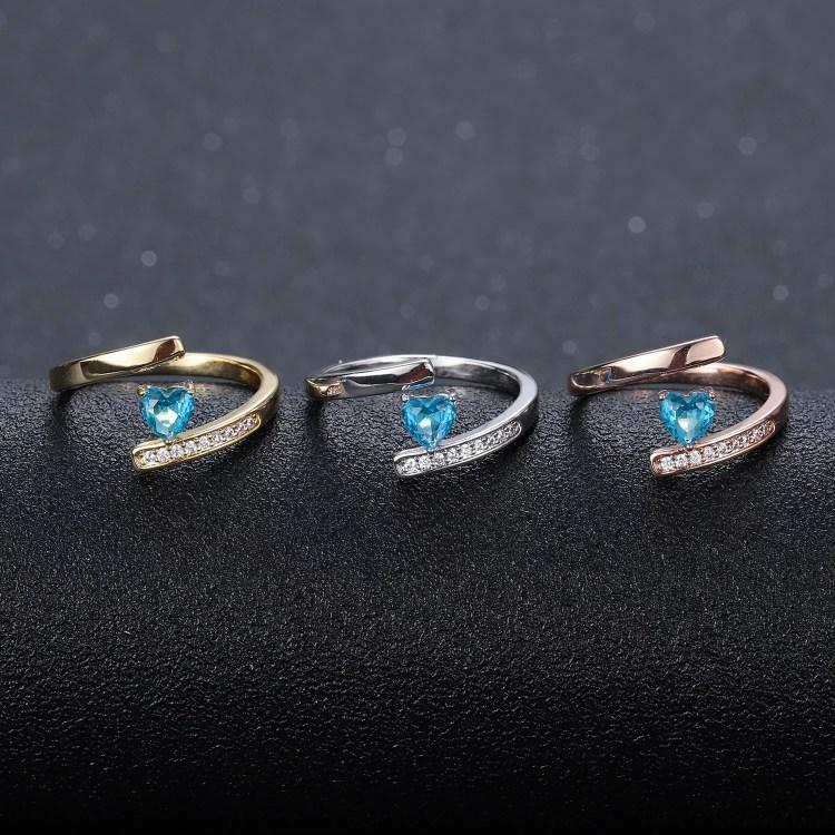 Fashion birthstone ring custom name-ring engraved text