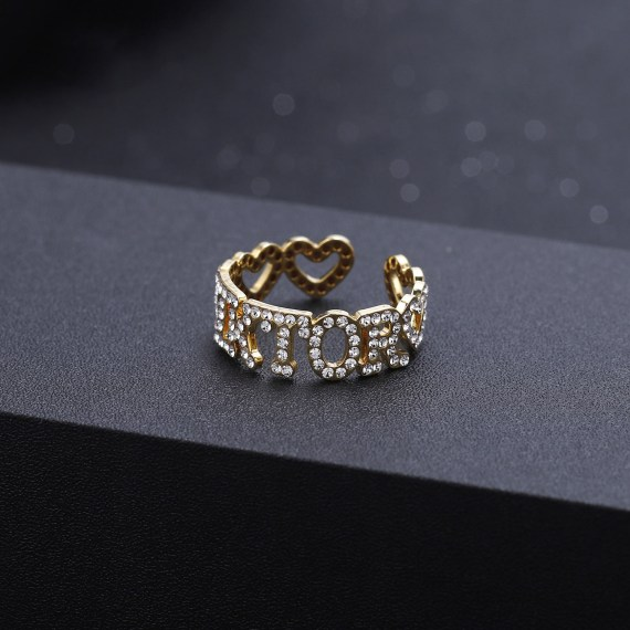 Hiphop Sparkling jewelry iced out zircon stone geometric letters fashion ring for women men handmade jewelry