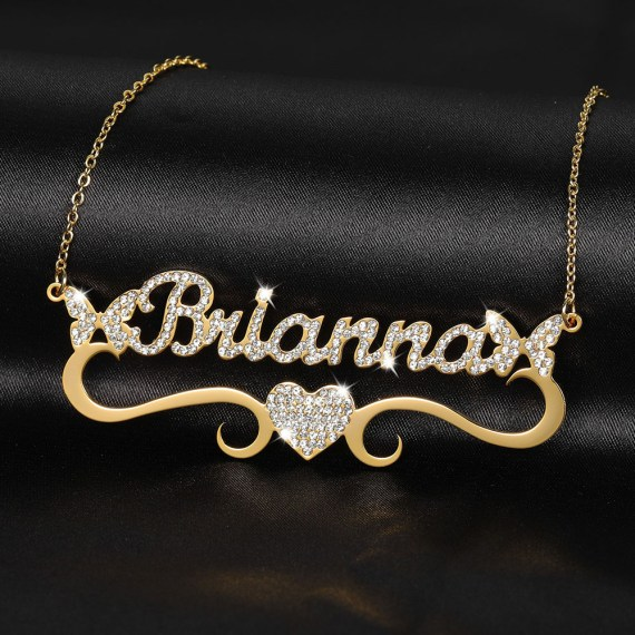 Personalized heart iced out name necklace butterfly pendants for women bling name jewelry iced out initial