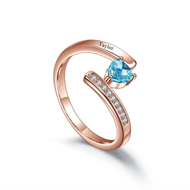 Rose gold engraved birthstone heart shape iced out