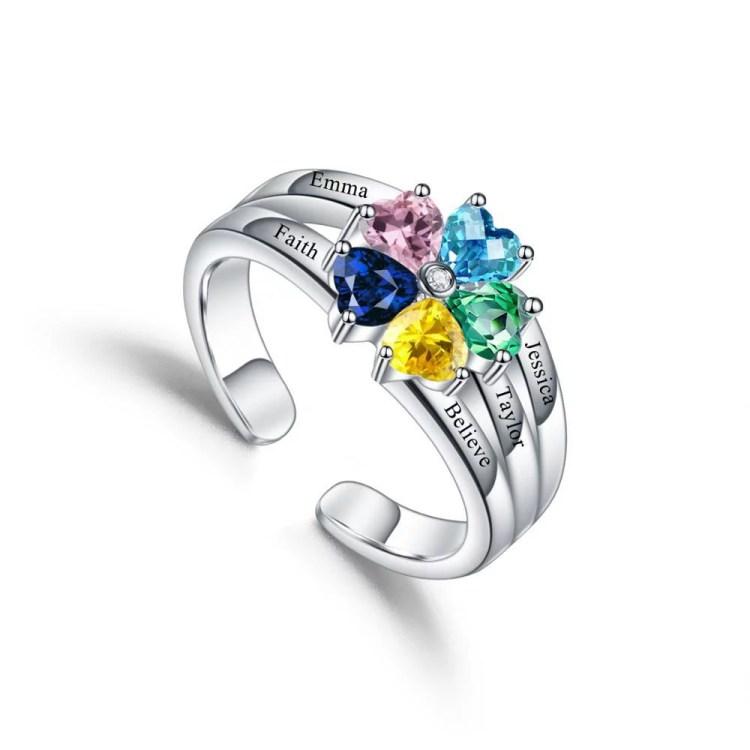 Silver custom heart birthstone rings for women custom name engraved printed family gift for her birthday christmas mothersday