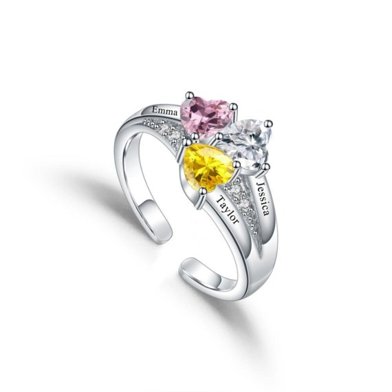 Three birthstone name promise ring engrave 3 names gift for family