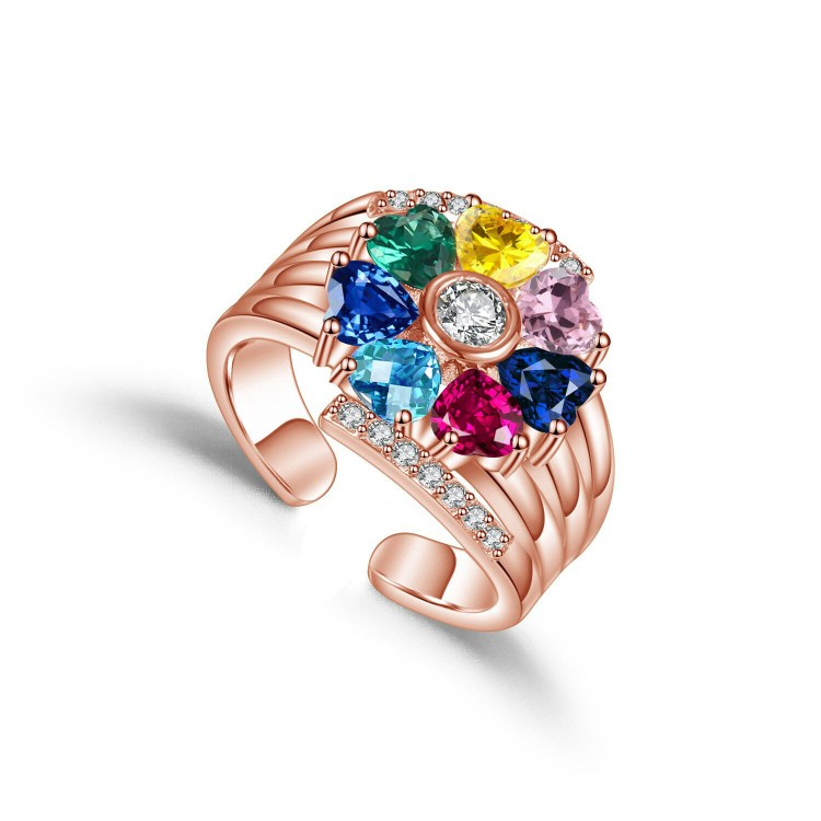 beautiful custom printed engraved 7 seven birthstone names rose gold ring for mother daugther grandma for birthday or any special occations.jpg