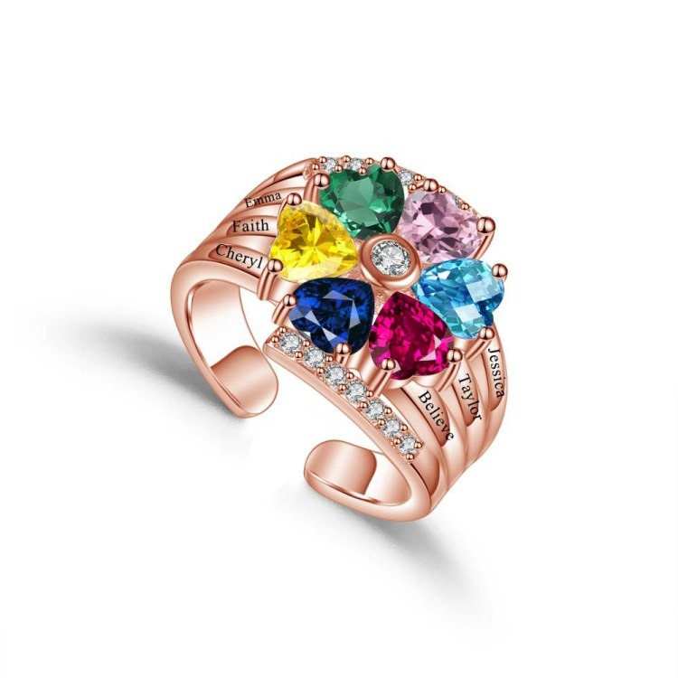 birthstone engraved name ring for mothers day grand mothers day best birthday gift to her with 6 names and birthstones