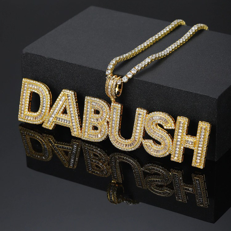 Superior Premium Iced Out Crystal Inlaid Rap Hip Hop Bling Personalized Custom Expensive High Quality Name Necklace