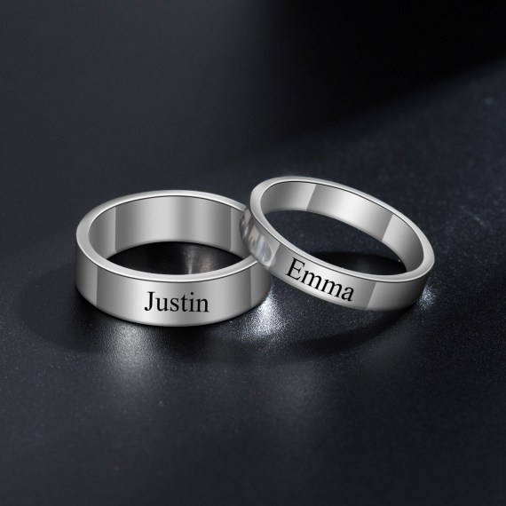 Engraved personalized round name rings for couple couple finger ring party wedding custom name