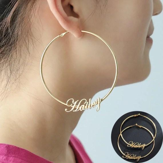 Fashion 50mm-70mm big hoop earrings for women date name custom earings gold stainless steel