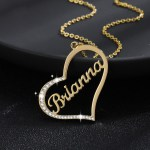 Personalized iced out heart name necklace gold stainless steel jewelry customized heart name necklace charm gifts