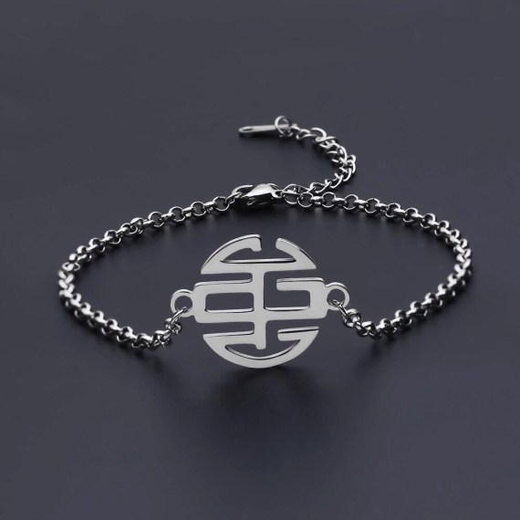 Sterling silver monogram letters circle letters personalized name bracelet women fashion personalized bangle jewelry