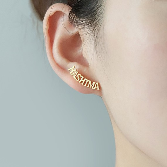Stud name personalized earrings capital english letters custom jewelry earring gift for women