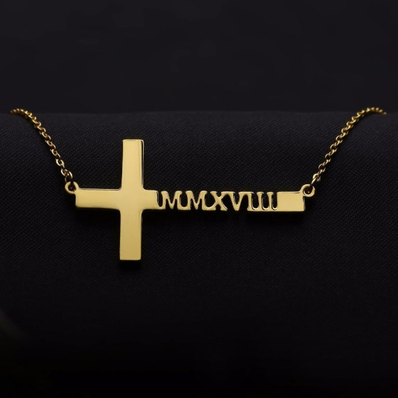 Horizonral pendant cross name necklace for women customized jewelry gift ideas