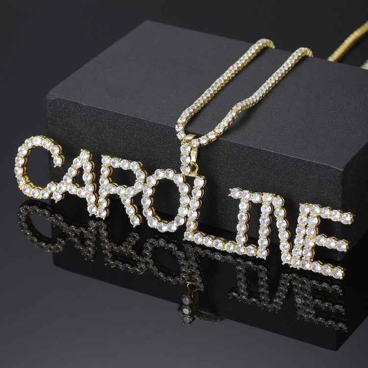 caroline iced out bling hip hop rap custom name necklace with crystal shine bling letters