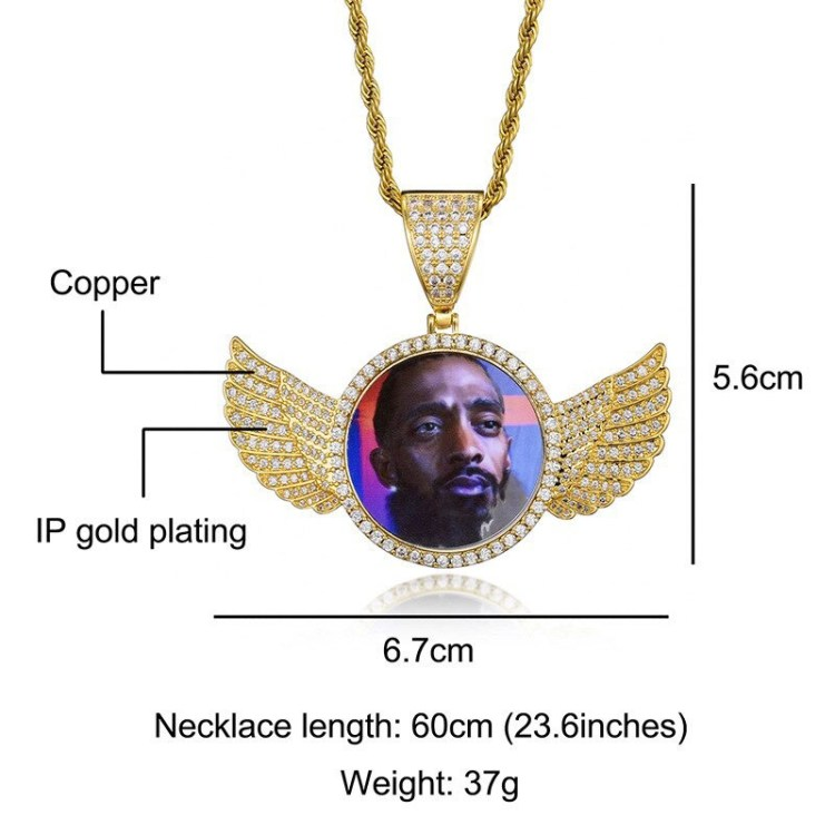 custom wings photo necklace dimensions