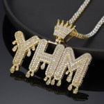 customized crown drip letter big iced out necklace