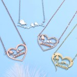 Custom Birds Name Necklace High Quality Personalized Name Necklace Women's Classy Name Necklace Looking Simple Name Necklace For Simple Jewelry Lovers